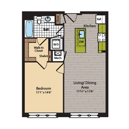 1 Bedroom Floor Plan | Washington DC Apartments | 360H Street 1