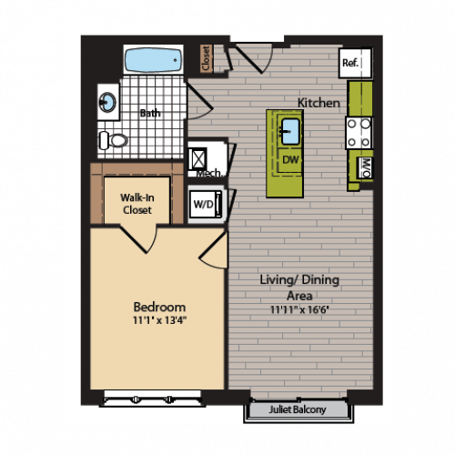 1 Bedroom Floor Plan | Washington DC Apartments | 360H Street 2