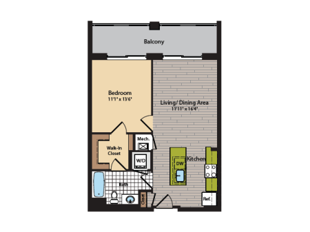 1 Bedroom Floor Plan | Washington DC Apartments | 360H Street 4