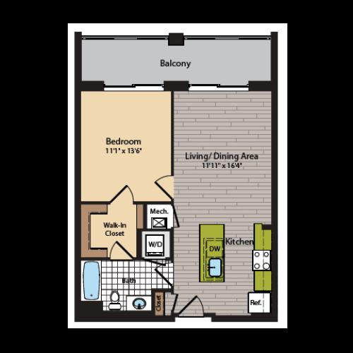 1 Bedroom Floor Plan | Washington DC Apartments | 360H Street 4