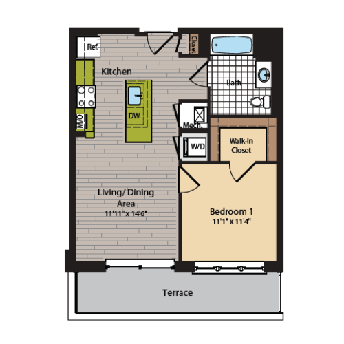 1 Bedroom Floor Plan | Washington DC Apartments | 360H Street 5
