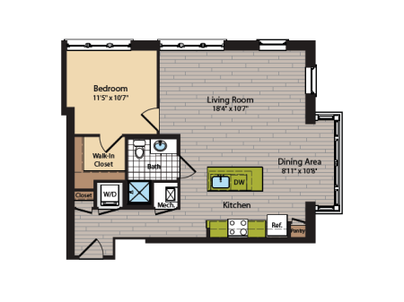 1 Bedroom Floor Plan | Washington DC Apartments | 360H Street 6