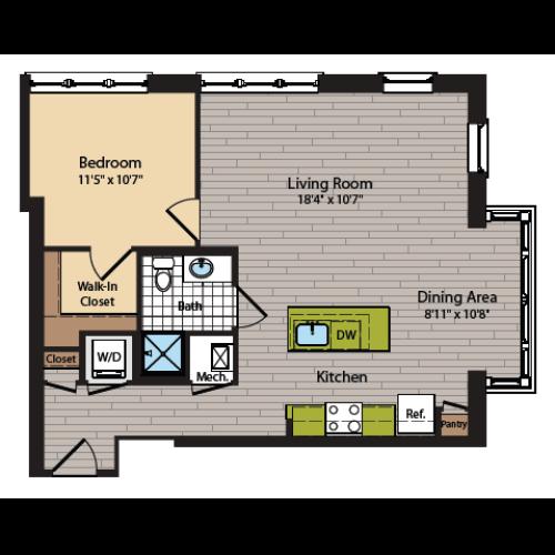1 Bedroom Floor Plan | Washington DC Apartments | 360H Street 6