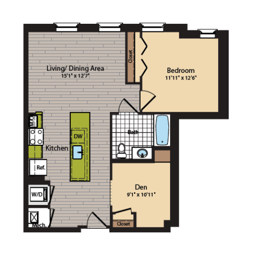 1 Bedroom Floor Plan | Washington DC Apartments | 360H Street 7