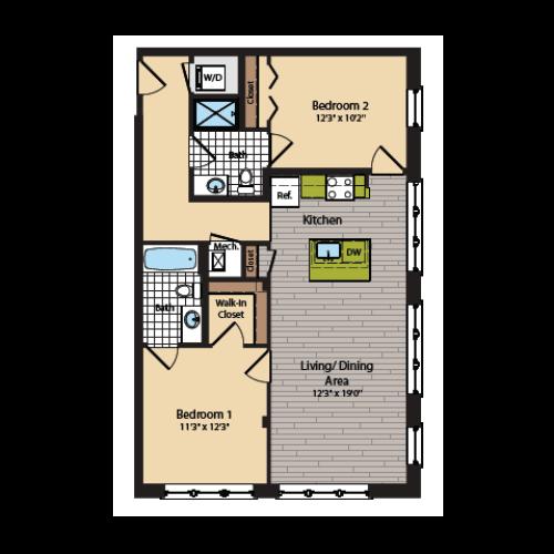 2 Bedroom Floor Plan | Apartments In Washington DC | 360H Street