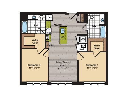 2 Bedroom Floor Plan | Apartments In Washington DC | 360H Street 1