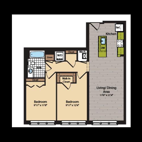 2 Bedroom Floor Plan | Apartments In Washington DC | 360H Street 4