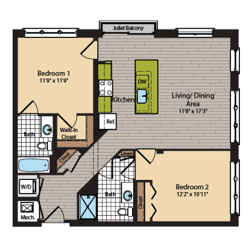 2 Bedroom Floor Plan | Apartments In Washington DC | 360H Street 5