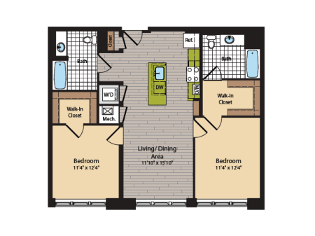 2 Bedroom Floor Plan | Apartments In Washington DC | 360H Street 6