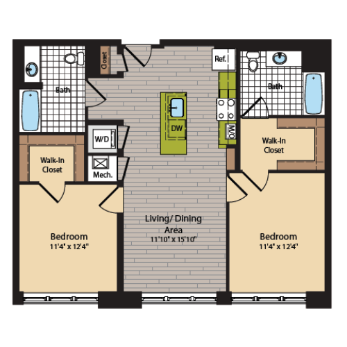 2 Bedroom Floor Plan | Apartments In Washington DC | 360H Street 6