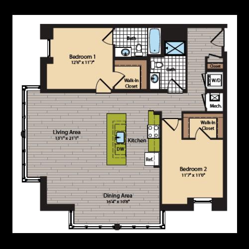 2 Bedroom Floor Plan | Apartments In Washington DC | 360H Street 8