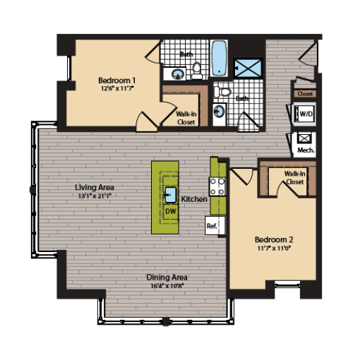 2 Bedroom Floor Plan | Apartments In Washington DC | 360H Street 8
