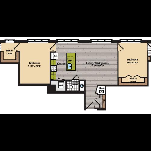 2 Bedroom Floor Plan | Apartments In Washington DC | 360H Street 10