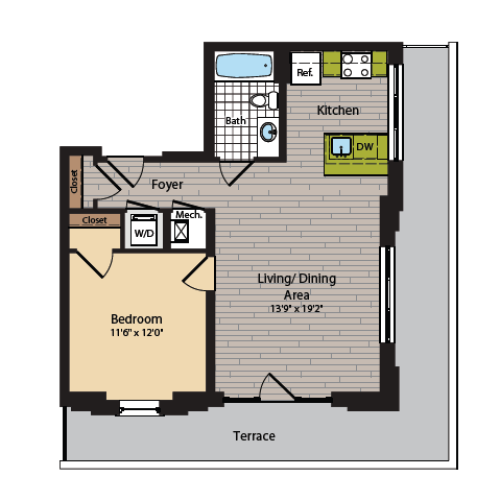 1 Bedroom Floor Plan | Washington DC Apartments | 360H Street 10