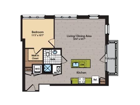 1 Bedroom Floor Plan | Washington DC Apartments | 360H Street 15