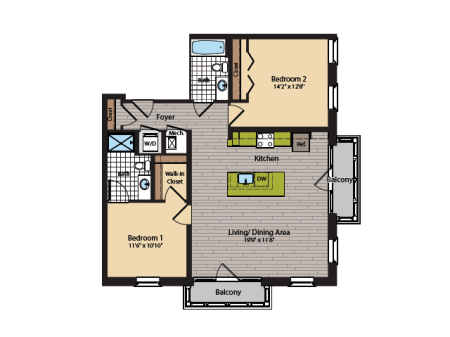2 Bedroom Floor Plan | Apartments In Washington DC | 360H Street 11