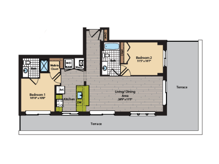 2 Bedroom Floor Plan | Apartments In Washington DC | 360H Street 12