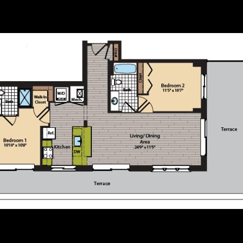 2 Bedroom Floor Plan | Apartments In Washington DC | 360H Street 12