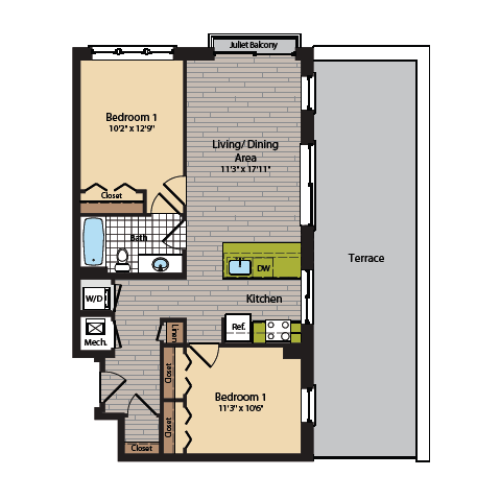 2 Bedroom Floor Plan | Apartments In Washington DC | 360H Street 14