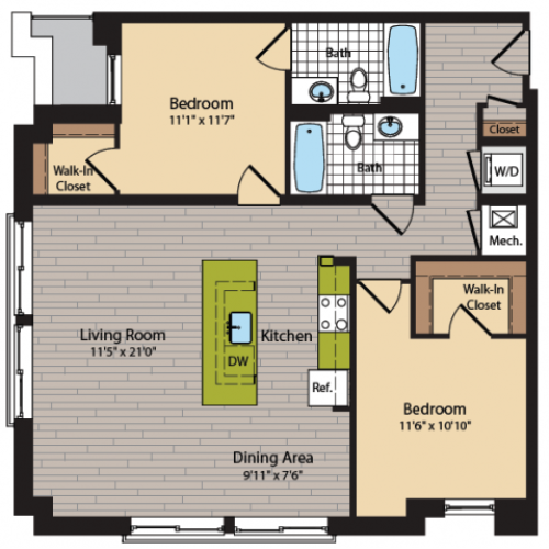 2 Bedroom Floor Plan | Apartments In Washington DC | 360H Street 13