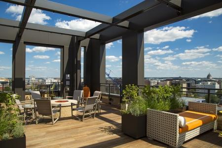 Rooftop Lounge with Views | Washington DC Apartment For Rent | Meridian at Mt. Vernon Triangle