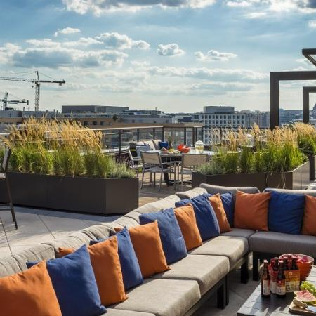 Residents Relaxing on the Sun Deck | Apartments for rent in Washington, DC | Meridian at Mt. Vernon Triangle