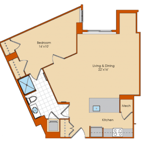 1 Bedroom Floor Plan | Washington DC Apartments | Park Triangle Apartments Lofts and Flats