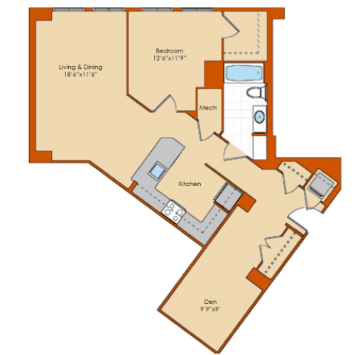 1 Bedroom Floor Plan 1 | Washington DC Apartments | Park Triangle Apartments Lofts and Flats