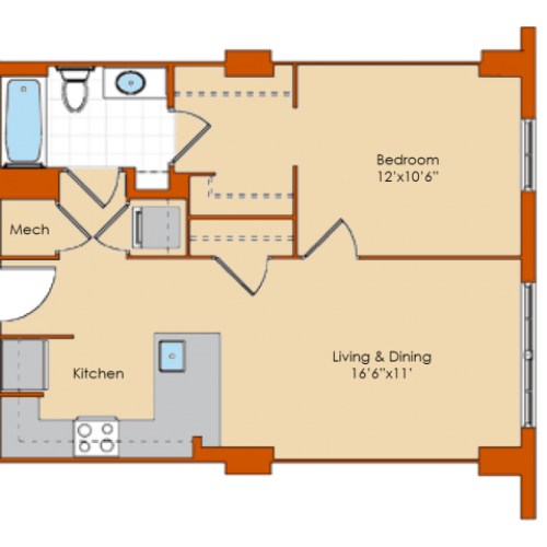 1 Bedroom Floor Plan 2 | Washington DC Apartments | Park Triangle Apartments Lofts and Flats