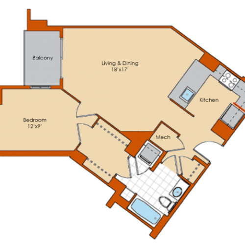 1 Bedroom Floor Plan 3 | Washington DC Apartments | Park Triangle Apartments Lofts and Flats