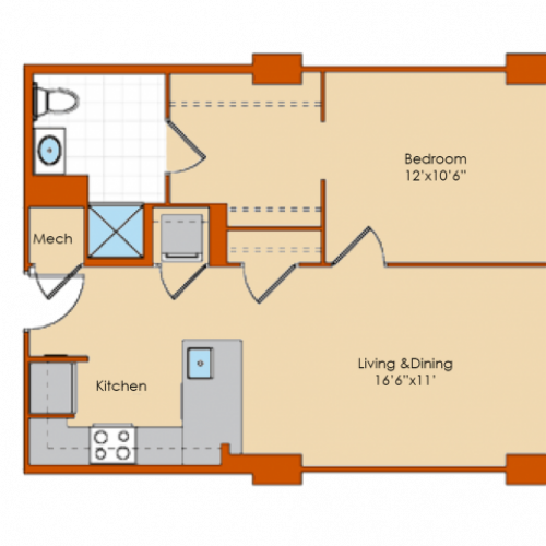 1 Bedroom Floor Plan 4 | Washington DC Apartments | Park Triangle Apartments Lofts and Flats
