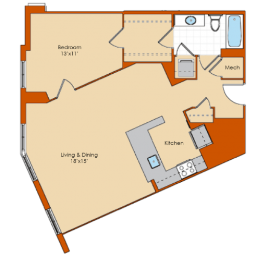 1 Bedroom Floor Plan 5 | Washington DC Apartments | Park Triangle Apartments Lofts and Flats