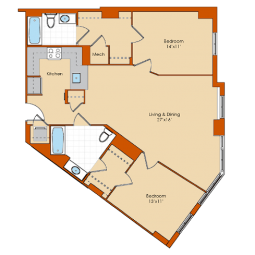2 Bedroom Floor Plan 1 | Apartments In Washington DC | Park Triangle Apartments Lofts and Flats