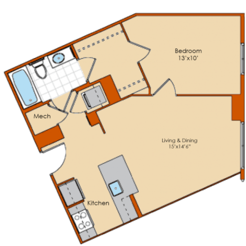 1 Bedroom Floor Plan 6 | Washington DC Apartments | Park Triangle Apartments Lofts and Flats