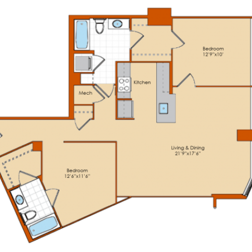 2 Bdrm Floor Plan 3 | Apartments For Rent Washington DC | Park Triangle Apartments Lofts and Flats