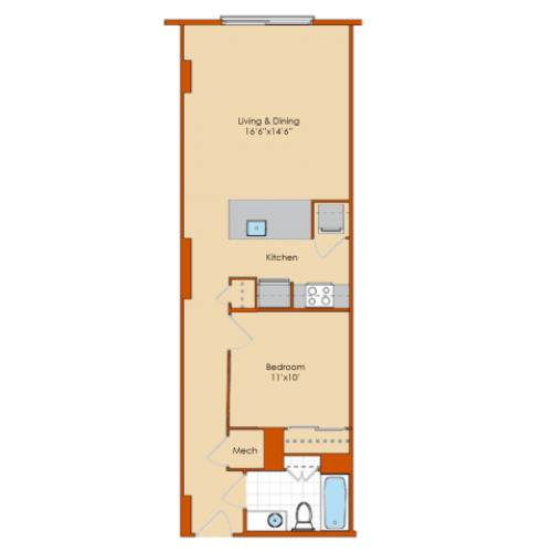 1 Bedroom Floor Plan 7 | Washington DC Apartments | Park Triangle Apartments Lofts and Flats