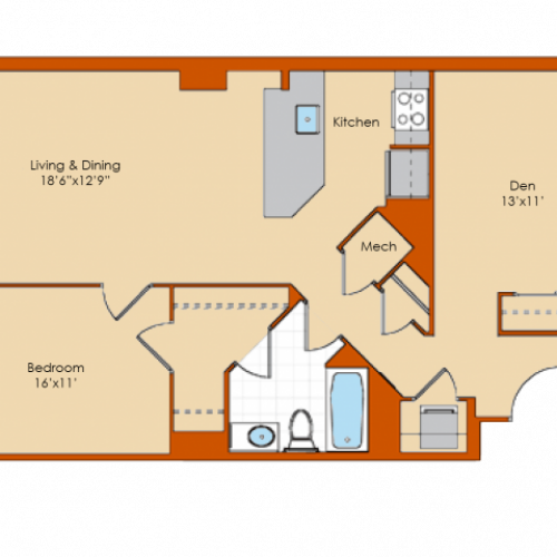 1 Bedroom Floor Plan 9 | Washington DC Apartments | Park Triangle Apartments Lofts and Flats
