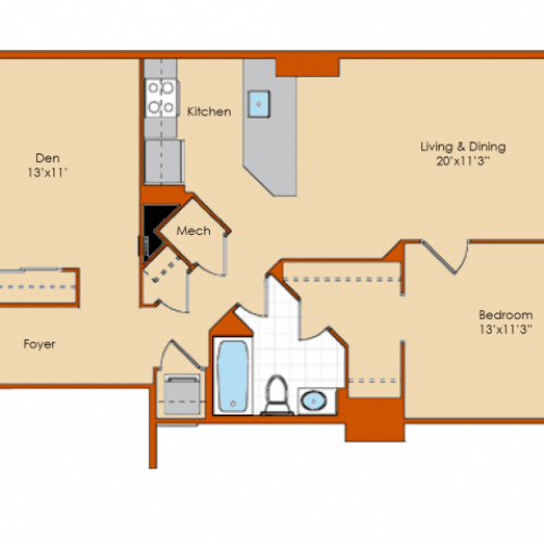 1 Bedroom Floor Plan 10 | Washington DC Apartments | Park Triangle Apartments Lofts and Flats