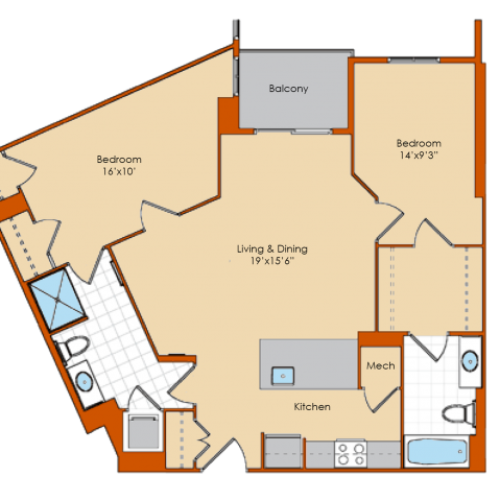 2 Bdrm Floor Plan 2 | Apartments For Rent Washington DC | Park Triangle Apartments Lofts and Flats