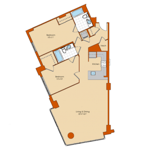 2 Bdrm Floor Plan 1 | Apartments For Rent Washington DC | Park Triangle Apartments Lofts and Flats