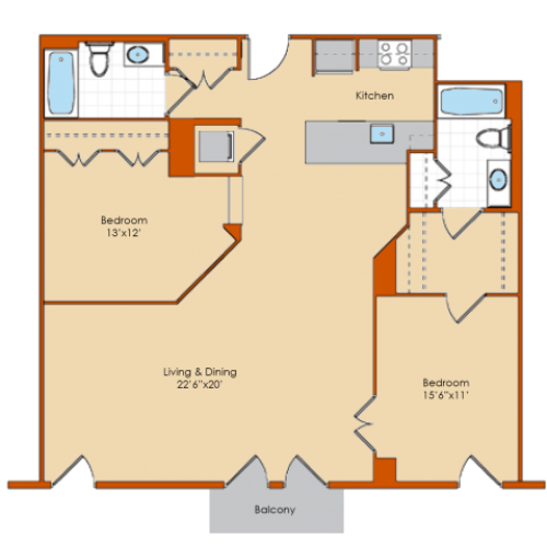 2 Bdrm Floor Plan | Apartments For Rent Washington DC | Park Triangle Apartments Lofts and Flats