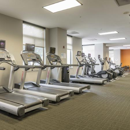 Large Fitness Center with Treadmills and Weight Stations| Meridian at Ballston Commons