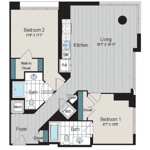 2B1a floor plan