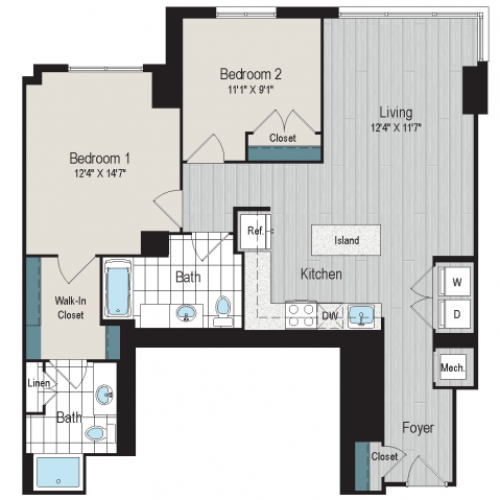 2b2 Type A floorplan