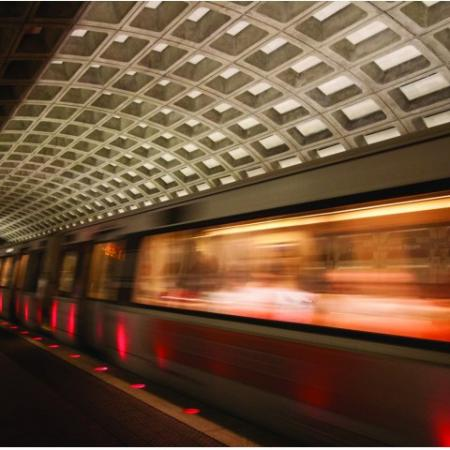 Colorful view of the metro in motion.