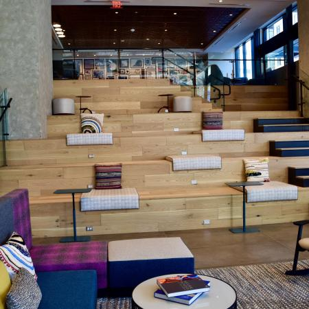Stunning Two Story Lobby with Stadium Style Seating Complete with Media Outlets