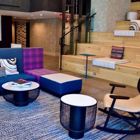 Stunning Two Story Lobby with Numerous Gathering Spaces and Stadium Style Seating with Media Outlets