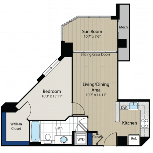 1 Bedroom Floor Plan | Meridian at Gallery Place