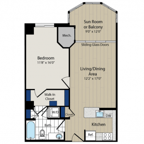 Floor Plan 3 | Luxury Apartments In Arlington VA | Meridian at Ballston Commons