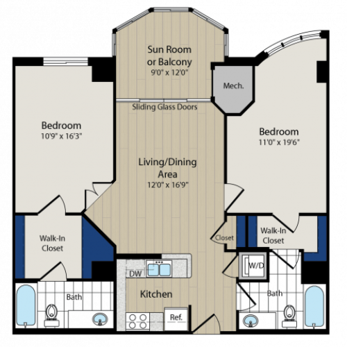 Floor Plan 8 | Luxury Apartments In Arlington VA | Meridian at Ballston Commons